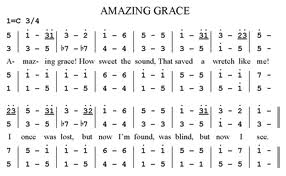 """A convenient sample of a song in numbered musical notation, though this is not a song I've heard of before. Printed upon the back is a strange circular symbol, enscribed off to one side """"Wikipedia""""."""